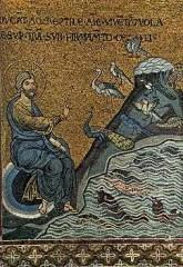 duomo di monreale,arte romanica,arte arabo-normanna,architettura romanica,arte in sicilia,la creazione dei pesci e degli uccelli,mosaico
