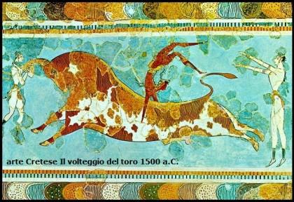 il volteggio del toro,arte cretese,arte,pittura,storia dell'arte,palazzo di cnosso