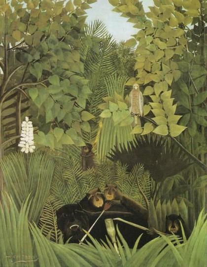 henri rousseau,arte,pittura,pittura naif,scimmie,